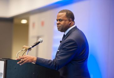 Mayor Kasim Reed speaking at the Click & Collect Show USA