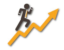 Image of a man on a line chart