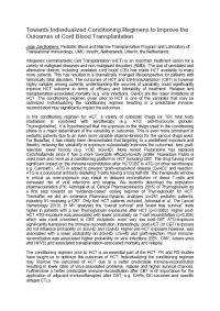 White Paper - Cord Blood Towards Individualized Conditioning in support of the Cord Blood World Europe Congress 2015